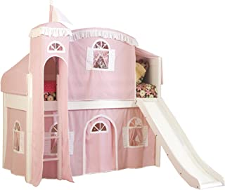 Bolton Furniture Cottage Low Loft Castle Bed, White with Pink/White Top Tent, Bottom Playhouse Curtain, Tower and Slide