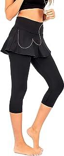 DEAR SPARKLE Skirted Capri Skirt Leggings for Women   Yoga Tennis Golf Skapri w Pockets + Plus Size (S19)