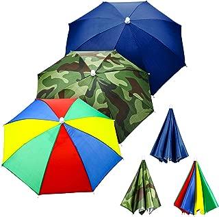 Syhood 3 Pieces Rainbow Umbrella Hats Camouflage Fishing Cap Beach Umbrella Headband in