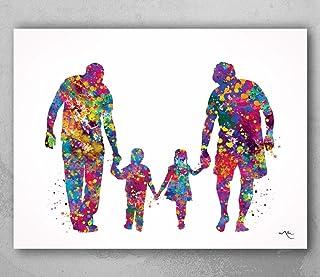 """Impresión en acuarela con texto en inglés """"Two Dads"""", adopción homosexual, LGBT Family Love Wins, regalo de boda, arte de ..."""