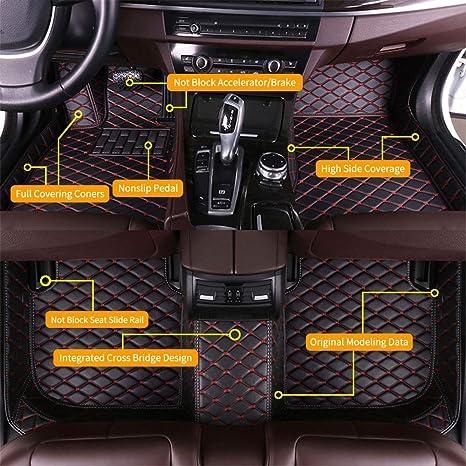 SureKit Custom Car Floor Mats for Dodge Challenger 2004-2014 2015-2019 Luxury Leather Waterproof Anti-Skid Full Coverage Liner Front & Rear Mat//Set Black red