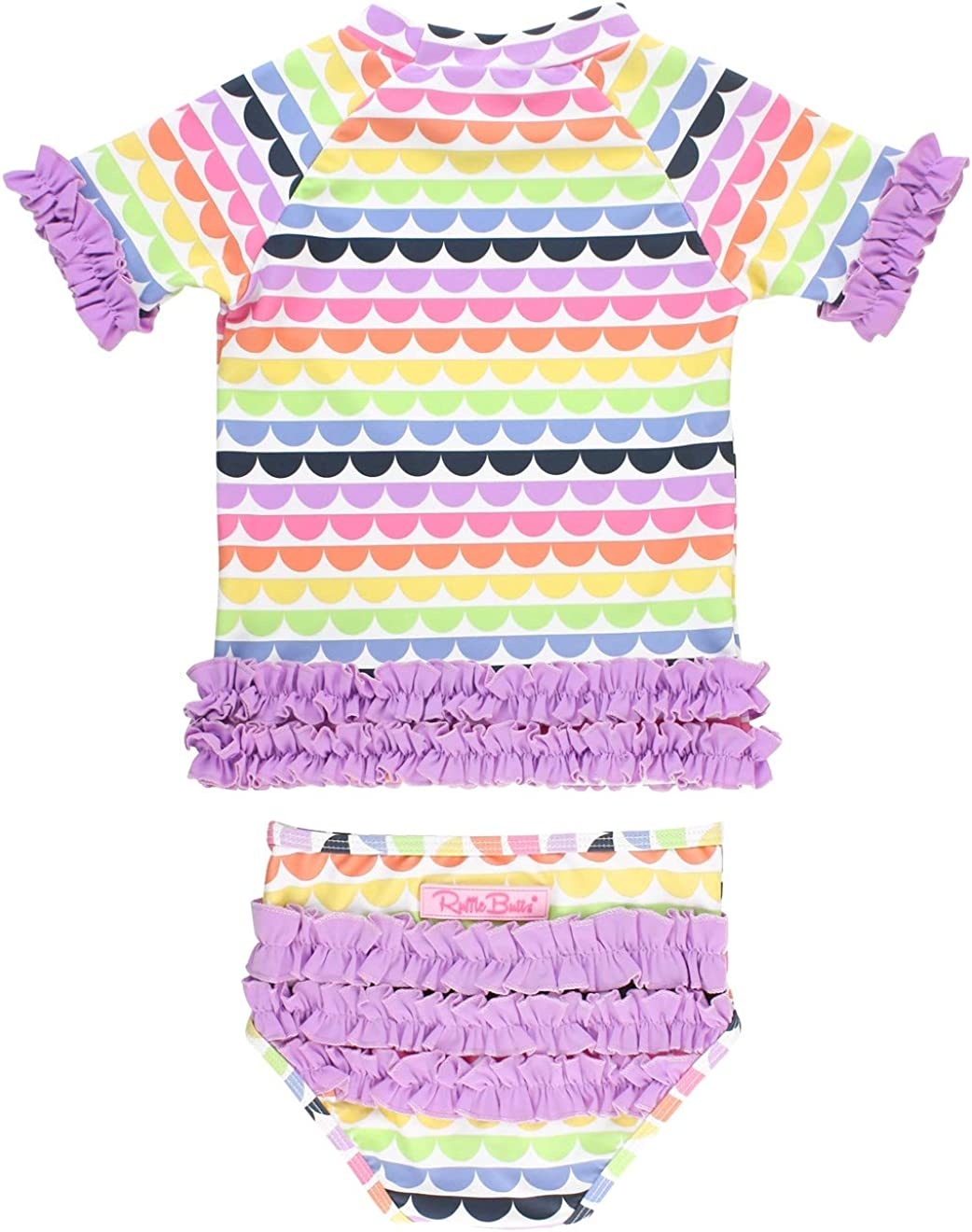 2-Piece Short Sleeve Rash Guard Bikini w//Ruffles RuffleButts Baby//Toddler Girls UPF 50