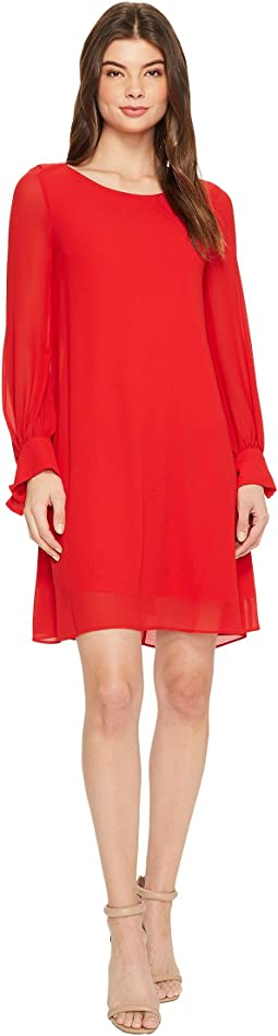 Crepe Shift Dress w/ Chiffon Sleeves