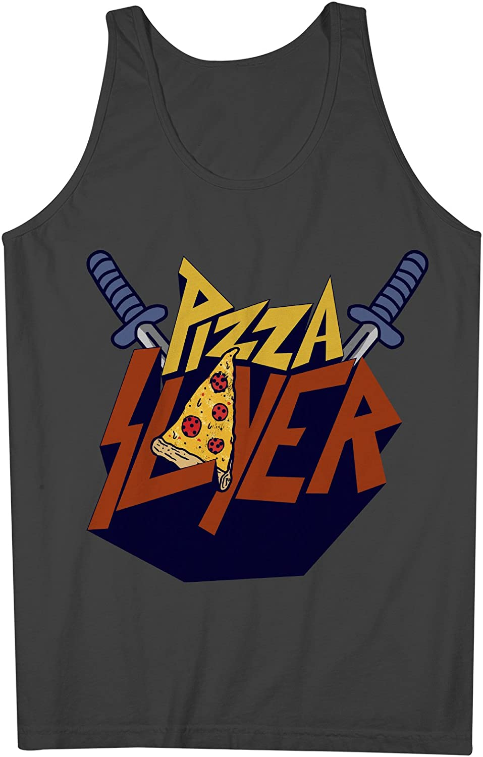 Pizza Slayer おかしいです Food 皮肉な 男性用 Tank Top Sleeveless Shirt