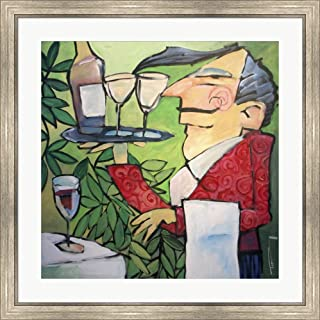 The Wine Steward by Tim Nyberg Framed Art Print Wall Picture, Silver Scoop Frame, 32 x 32 inches