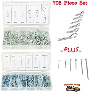 Power Auto Hitch Pin Clip Assortment and Cotter Pin Value Assortment 705pcs - DIY Trailer Pin, Hair Pin - Set Of Hitch, Cotter Keys - Fasteners Clips - Repair Equipment, Lawn Mower, Small Engine, Cars