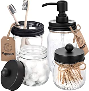 AOZITA Mason Jar Bathroom Accessories Set 4 Pcs - Mason Jar Soap Dispenser & 2 Apothecary Jars & Toothbrush Holder - Rustic Farmhouse Decor Bathroom Countertop, Vanity Organize, Black