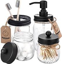 Mason Jar Bathroom Accessories Set 4 Pcs - Mason Jar Soap Dispenser & 2 Apothecary Jars & Toothbrush Holder - Rustic Farmh...