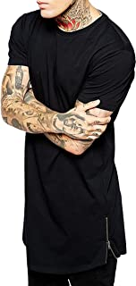 Ma Croix Mens Premium Longline Tee with Side Zipper Elongated Extended Style T Shirt