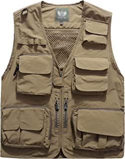 Men's Casual Outdoor Work Safari Fishing Travel Photo Cargo Vest Jacket Multi Pockets
