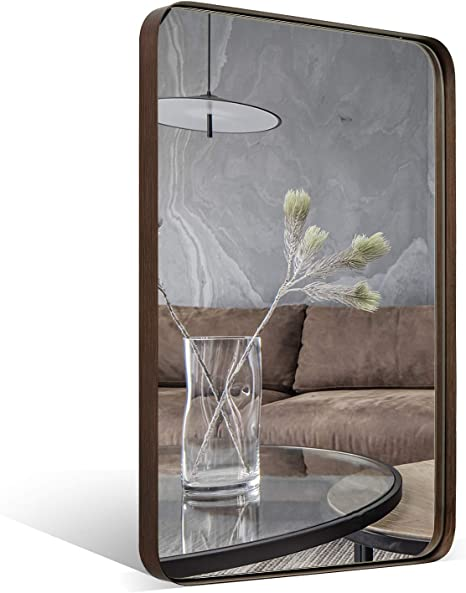 Amazon Com Andy Star Wall Mirror Brushed Bronze 22x30 Contemporary Rectangular Stainless Steel Metal Frame Rounded Corner 1 Deep Set Design For Bathroom Home Kitchen