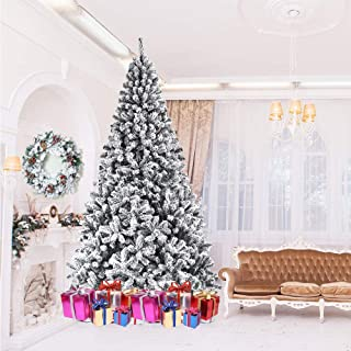 usikey Christmas Tree with Flocked Snow, 7.5 FT Automatic Branching Artificial Tree with 1000 Tips, Xmas Full Tree with Metal Stand for Living Room, Indoor and Outdoor Holiday Decoration, Unlit
