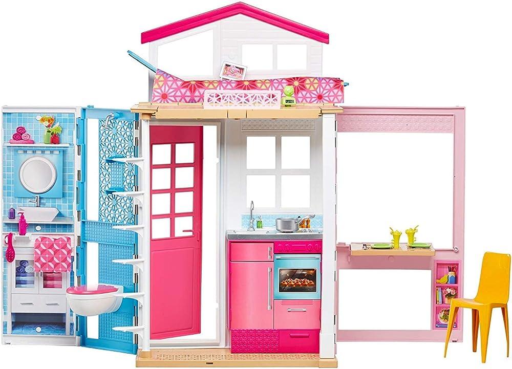 Barbie- casa a 2 piani con bambola e tanti accessori DVV48