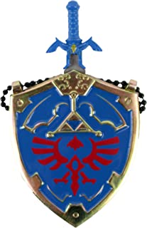 Mini Hylian Shield & Links Master Sword Legend of Zelda Necklace (Blue Zelda Necklace)