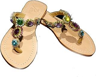 Gorgeous Jeweled Genuine Leather Shoes Pasha, Style Sao Paulo Rainbow/Gold