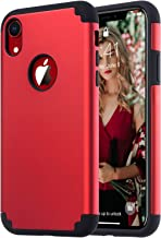ULAK iPhone XR Case, Slim Fit Dual Layer Hybrid Hard PC Back Cover with Shockproof Soft Silicone Interior Anti Scratch Protective Phone Case for iPhone XR 6.1 inch, Red+Black