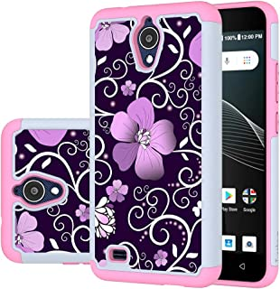 Turphevm AT&T AXIA Case, Cricket Vision Case, [Shock Absorption] Dual Layer Heavy Duty Protective Silicone Plastic Cover Rugged Case for AT&T AXIA QS5509A / Cricket Vision DQON5001(Pink Violet)