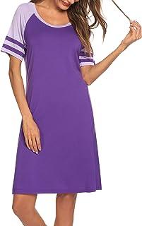 HOTOUCH Sleepwear Women's Nightshirt Short Sleeve Long Nightgown Scoopneck Sleep Tee Dress S-XXL