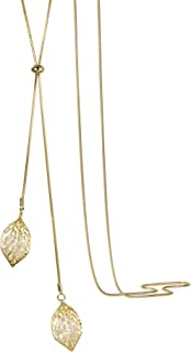 White Golden Double Leaves Long Sweater Chain Pendant Necklace with Cubic Zirconia for Women Girls