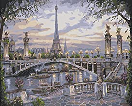 YEESAM ART Paint by Number Kits for Adults Kids Christmas Gifts - Eiffel Tower Bridge Casual Evening 16x20 inch Linen Canvas