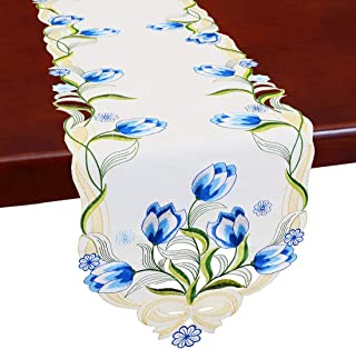 Simhomsen Embroidered Tulip Table Runners, Spring Floral Table Linens (Blue, 13 × 54 Inch)