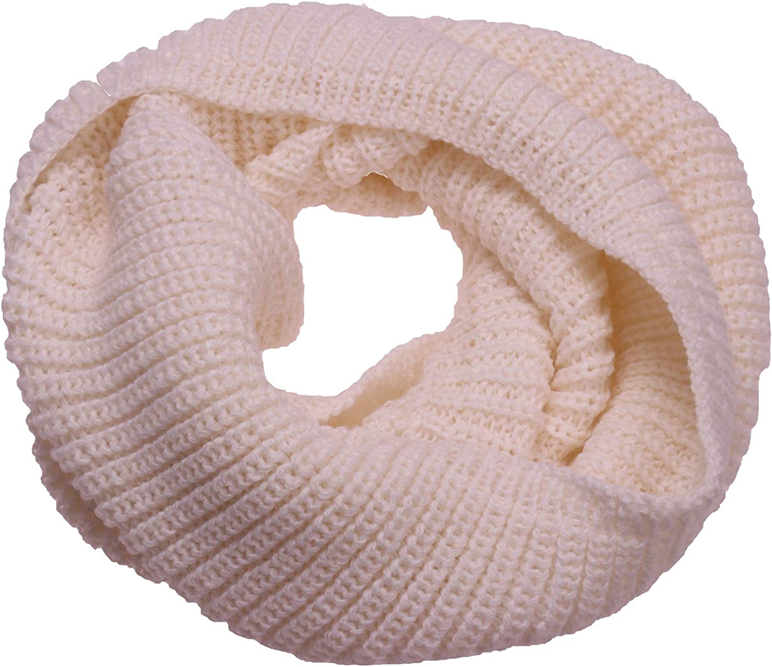 ANCHOVY Knit Infinity Scarf, Winter Warm Ribbed Circle Loop Scarf Neck Warmer S005