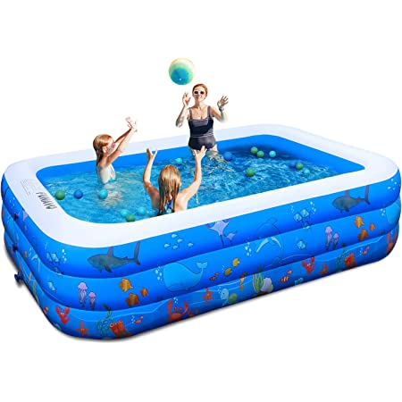 """Inflatable Pool,100"""" X71"""" X22"""" Inflatable Swimming Pool, FUNAVO Family Swimming Pool for Kids, Baby, Toddler, Adults, Blow Up Kiddie Pool for Outdoor, Backyard, Garden, Indoor, Lounge"""