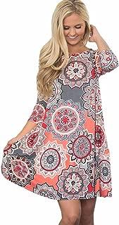 Women's Vintage Boho A-Line Maxi Evening Three Quarter Party Beach Floral Dress