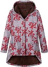 Jumaocio Coat Womens Printing Vintage Hooded Jacket Warm Outwear Plus Size