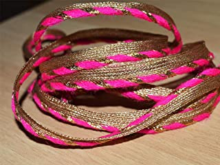 0.3 Inch Wholesale Edge Finishing Hot Pink Metallic Jari Gota Patti Piping Cord Ribbon Lace by 9 Yard Decorative Welt Welting Trim for Sewing Craft Projects Stunning Indian Dress Designing Trimmings