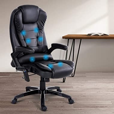 Artiss 8 Point Massage Executive Office Computer Chair Heated Recliner PU Leather High Back Adjustable Height Amber Armchair