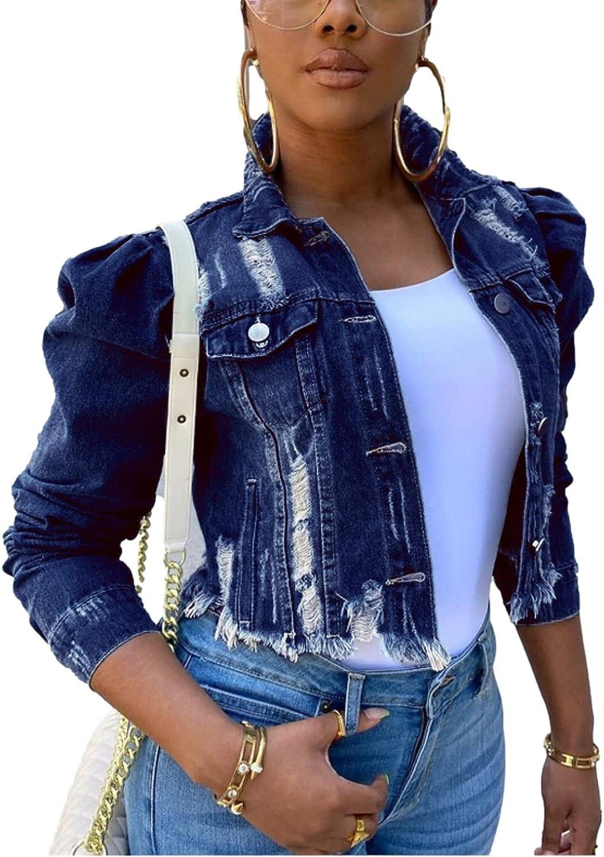 Shiyifa Women's Ripped Puff Sleeve Denim Crop Top Raw Hem Long Sleeve Button Down Jean Jacket