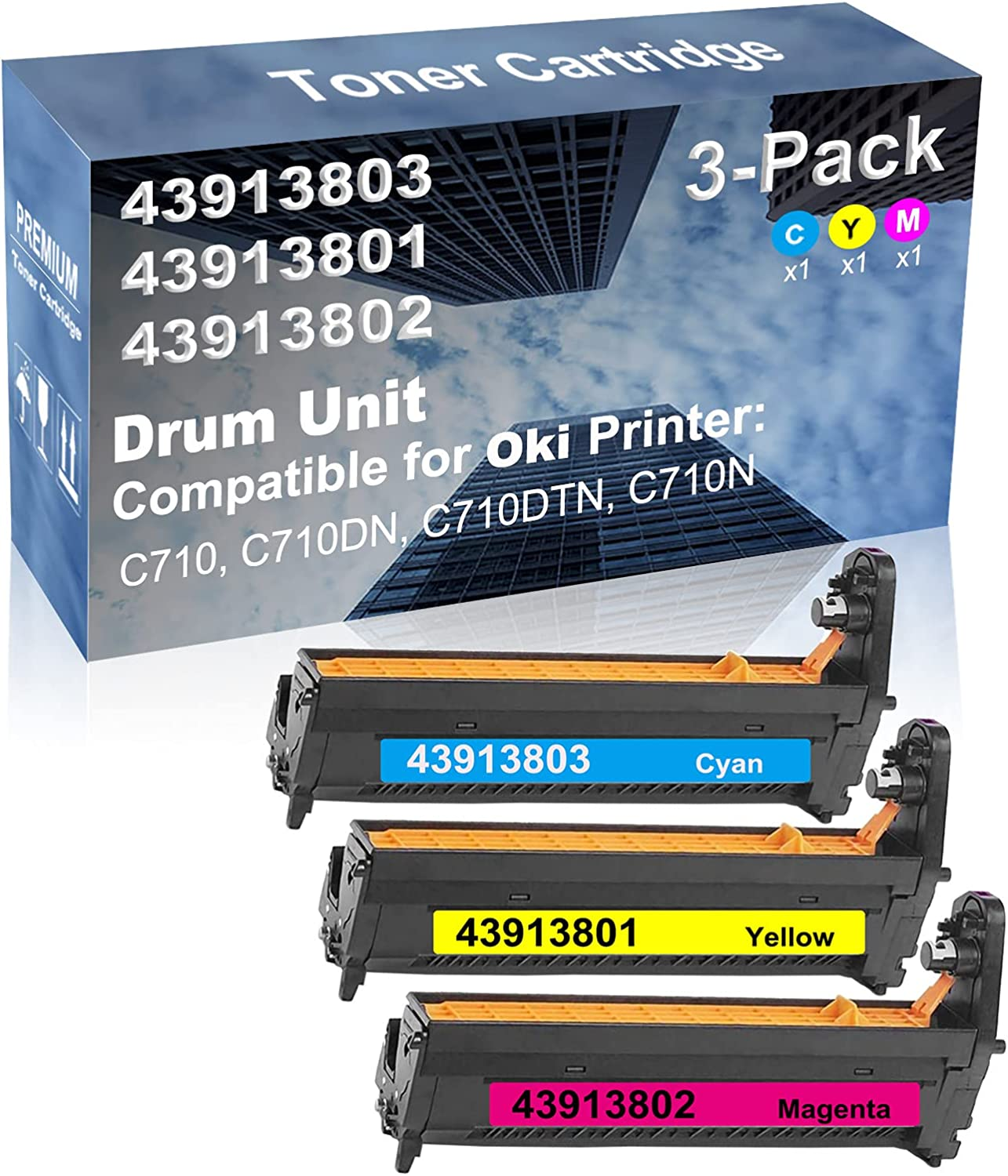 3-Pack (C+Y+M) Compatible C710, C710DN, C710DTN, C710N Printer Drum Kit High Capacity Replacement for Oki 43913803+ 43913801+ 43913802 Drum Unit