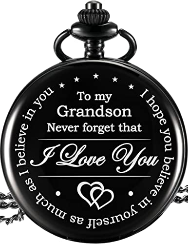 Memory Present to My Grandson Pocket Watch, I Love You to Grandson Present from Grandpa Grandma