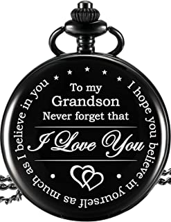 Memory Present to My Grandson Pocket Watch, I Love You to Grandson Present from Grandpa Grandma