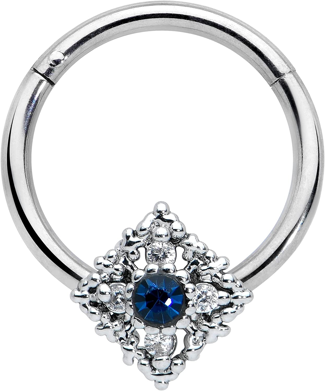 Body Candy Womens 16G Steel Hinged Segment Ring Seamless Cartilage Nipple Ring Blue Rhombus Nose Hoop 3/8