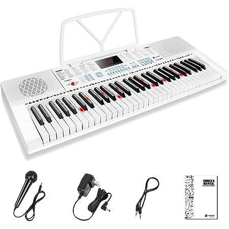 Vangoa Clavier de Piano 61 Lumineuses Mini touches Clavier électronique Piano avec microphone, 3 modes d'enseignement, 350 sons, 350 rythmes, 30 démos, Blanc