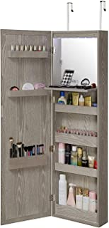 Abington Lane Wall Mounted Over The Door Makeup Organizer Beauty Armoire with LED Lights and Stowaway Mirror (Heathered Grey)