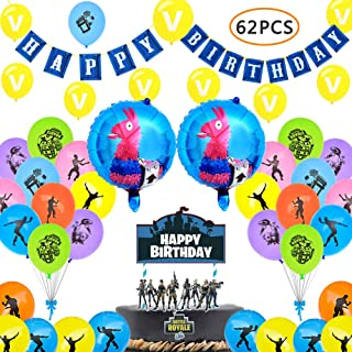 72PCS Birthday Party Supplies for Game Lovers, Gaming Theme Party Decorations - Include Balloons, Banner, Cake Toppers, Video Game Party Supplies
