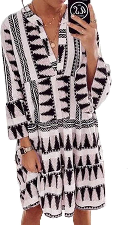 Acelitt Womens Long Sleeve V Neck Cute Printed Ruffle Flowy Shift Dress