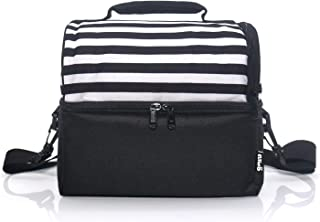 PuTwo Lunch Bag 8l Insulated Lunch Bags Thermal Cooler Bag Leakproof Lunch Cooler with Adjustable Shoulder Strap Lunch Tote for Adults Men Women Family Kids for Work Office School-Black & White Stripe