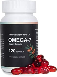 Sea Buckthorn Oil Blend, Omega-7 100% Organic Vegan Capsule, 120 Softgels
