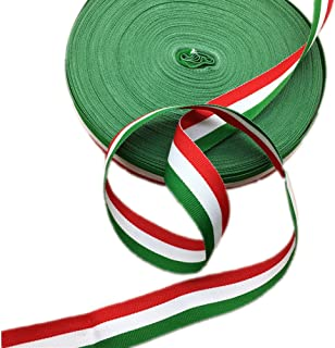 Red White and Green Grosgrain Stripes Ribbon Italian Flag Patriotic Ribbon Belt for Christmas Holiday Party Decoration 50 Yards