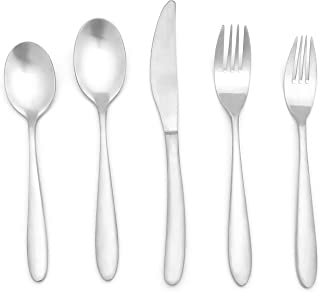 20 Pieces Matte Silverware Set, 18/10 Stainless Steel Heavy Duty Flatware Set with Satin Finish, Cutlery Set Service for 4, Silver