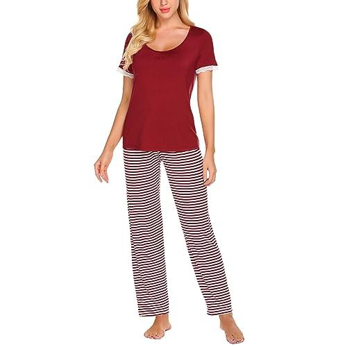 Women s Pyjamas Short Sleeved Top   Striped Pants Loungewear Set Pjs 88abde098