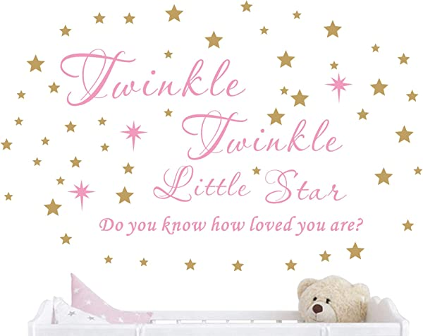 Twinkle Twinkle Little Star Wall Decal Vinyl Quote Sticker Do You Know How Loved You Are Nursery Decor For Kids Girls Bedroom Decoration Home Room Stars Art Design YMX23 Soft Pink Gold 65x42cm