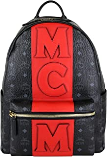 MCM Unisex Black/Red Canvas Coated Medium Backpack With Logo MMK8AVE31BK001