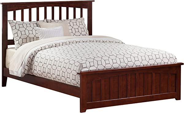 Atlantic Furniture AR8746034 Mission Traditional Bed With Matching Foot Board Queen Walnut