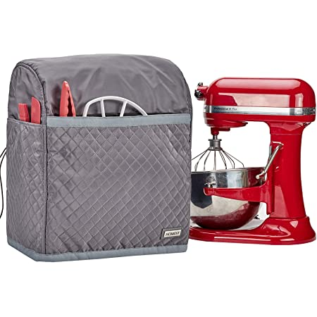 HOMEST Stand Mixer Quilted Dust Cover with Pockets Compatible with KitchenAid Bowl Lift 5-8 Quart, Grey (Patent Design)