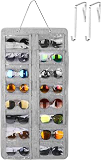 Sunglasses Organizer Storage 16 Slots Dust Proof Wall Mounted Hanging Sunglasses Organizer Holder Eyewear Display Pocket with Metal Hook and Sturdy Rope for Women Men